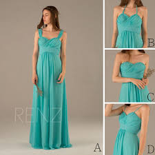 2016 turquoise bridesmaid dress convertible double straps wedding