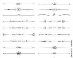 Decorative Line Clip Art Text Dividers Retro Vintage Vector Graphics Wedding Digital