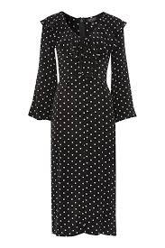 topshop dress polka dot ruffle midi dress topshop usa