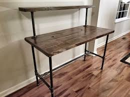 pipe desk with shelves steel and wood desk office iron pipe desk with monitor shelf