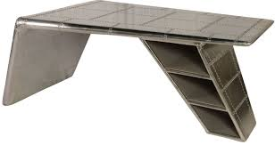 lindbergh leather bomber aluminum wing desk from lazzaro wh f1429