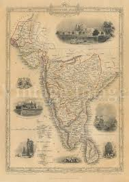 Map India Old Map Of India 1851 Southern Old India Map Indian Wall Decor