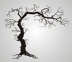 large tree of stencil twisted tree with roots