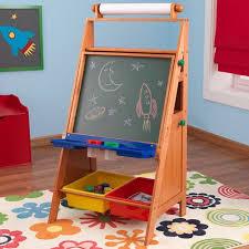 kidkraft wooden easel desk with chalkboard paper roll paint cups