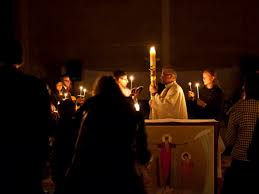 vigil lights catholic church easter vigil with neocatechumenal community liturgy of light