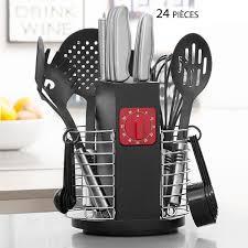 ustensiles de cuisine discount porte ustensiles de cuisine rotatif avec minuteur 24 pièces pas cher