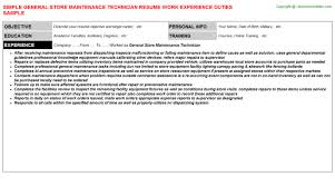 Maintenance Mechanic Resume Examples by General Store Maintenance Technician Job Title Docs