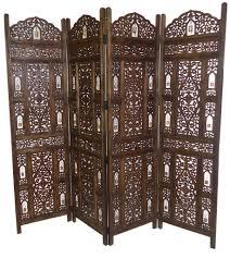 4 panel heavy duty indian wooden bells design folding screen room
