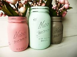 spring home and wedding decor painted and distressed mason jars