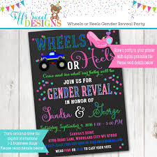 gender reveal invitation template wheels or heels gender reveal party invitation pink and