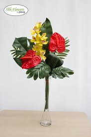 Artificial Lilies In Vase Stunning Realistic Red Anthurium Arrangement In Glass Vase