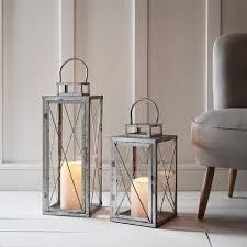 lot de 2 lanternes en métal avec bougie led blanc chaud à piles