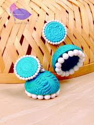 Shades Of Light Blue by Fancy Jhumka Sets Online In Blue And White Jhumkas Online