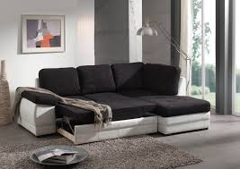 canapé angle convertible tissu canapé d angle contemporain convertible en tissu coloris noir
