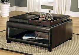 ottoman ottoman with storage and tray brown black leather