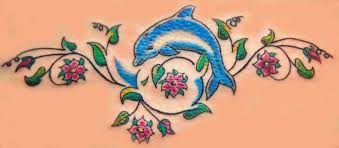 pink flowers and blue dolphin design