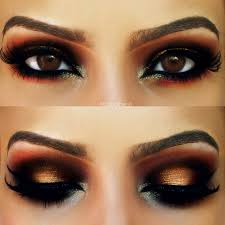 makeup for brown eyes gold and red arabic look warm tones to