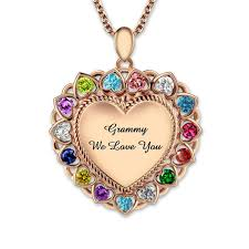 heart necklace wholesale images Wholesale personalized engraved birthstones heart necklace rose jpg