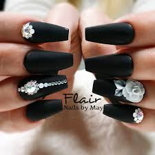 notpolish allacrylics matte matte black swarovski crystals