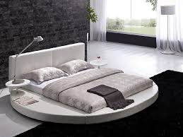 modern brown leather headboard round bed queen tos t009 br q sp