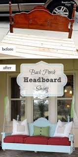 Diy Vintage Headboard by Porch Swing Made From A Vintage Headboard And A 5 Panel Door For
