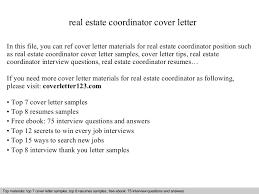 real estate coordinator cover letter