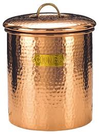copper canisters kitchen decor copper hammered cookie jar 4 quart 6 75 x7 5