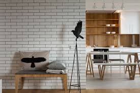 brick wall designer black and white bathroom design with white