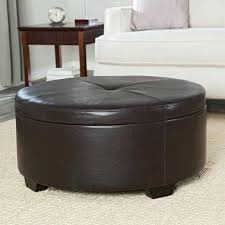 round ottoman coffee table brown leather with storage tufted tray