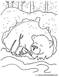 hibernating bear color sheet coloring page preschool january