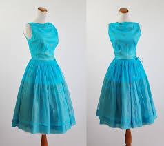 vintage 50s dress 60s cocktail dress aqua blue chiffon full
