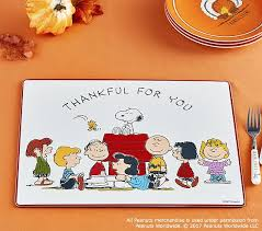 peanuts thanksgiving placemat pottery barn