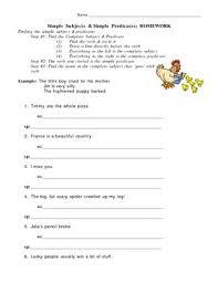 simple subject u0026 predicate homework worksheet by a g tpt