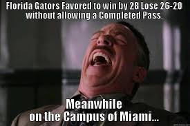 Funny Florida Gator Memes - gators favored by 28 lose by 6 quickmeme