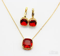 ruby necklace earrings images 2018 ruby earrings gold plated adjustable necklace jewellery set jpg