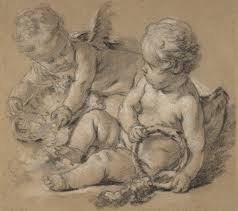 winged putti with flowers ca 1750 françois boucher french