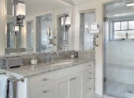 Bathroom Ideas White Tile Bathroom With Marble Counter Glass Shower And White Tile Small