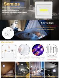cob led wireless night light with switch closet light semlos led night light battery operated wireless
