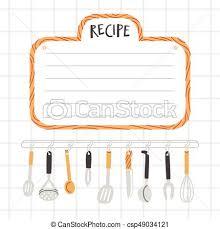dessin recette de cuisine ustensiles recette gabarit cuisine illustration vectorielle