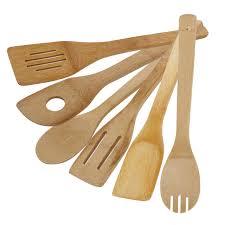 cuisine bambou 6 pcs ensemble ustensiles de cuisine en bambou naturel bois