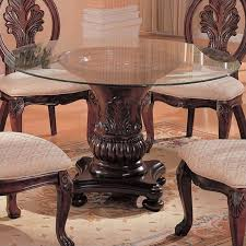 Coaster Dining Room Sets Coaster Tabitha Traditional Round Dining Table With Glass Top In