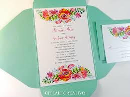 wedding pocket invitations watercolor garden flowers aqua pocket wedding invitations