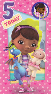 doc mcstuffins 5th birthday card with badge cardspark