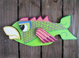 cool painted wood fish sculpture wall hanging plaque