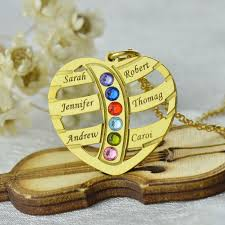 Personalized Family Necklace Gold Color Engraved Heart Family Name Necklace Birthstones Kids