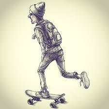 drawn skateboard graffito pencil and in color drawn skateboard