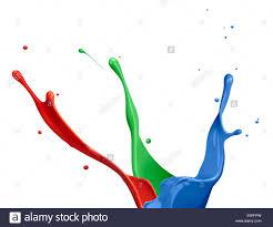 paint splash of rgb colors on white background stock photo
