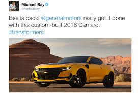 chevrolet camaro transformers bumblebee returns to transformers as an aggressive 2016 chevrolet