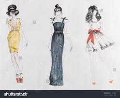 hand drawn fashion sketch women colored stock photo 260152868