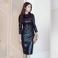 leather dress womens fashion ol slim stand collar sleeve knee high leather